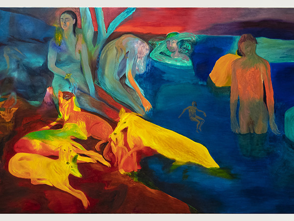 Francesca Banchelli, Fuochi, 2021. Olio su cotone, 150 x 250 cm.