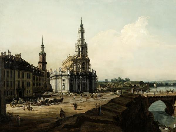 La Hofkirche di Dresda con il castello e il ponte di Augusto (Dresda dalla riva sinistra dell'Elba)