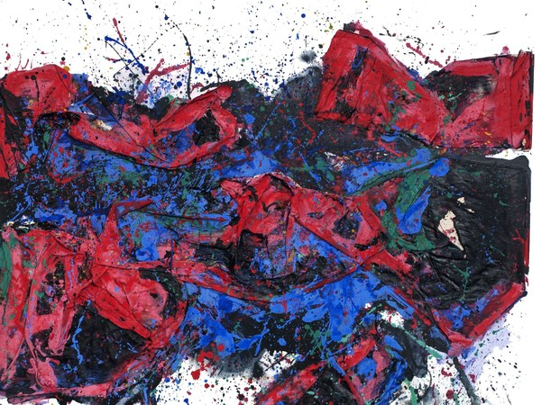 <span>Jean François Migno,</span><em>Grand rouge</em><span>, 2016, tecnica mista, acrilico e caseina, cm. 130x194</span>