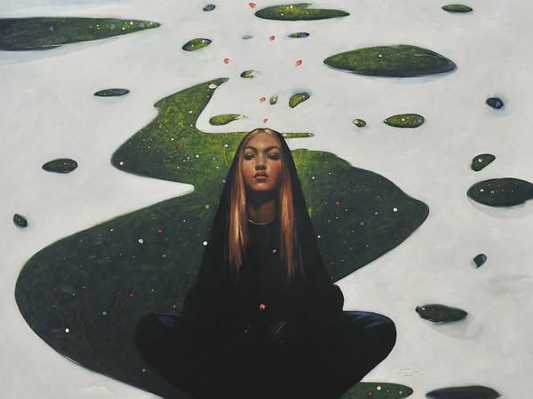 Omar Galliani, Annunciazione, 2019, olio su tela, cm. 235x196