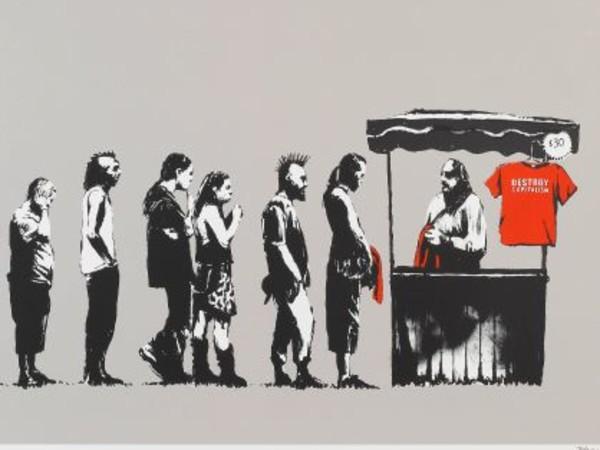 """Opera di Banksy. """"Il secondo principio di un artista di nome Banksy"""", Palazzo Ducale, Genova.<br />"""