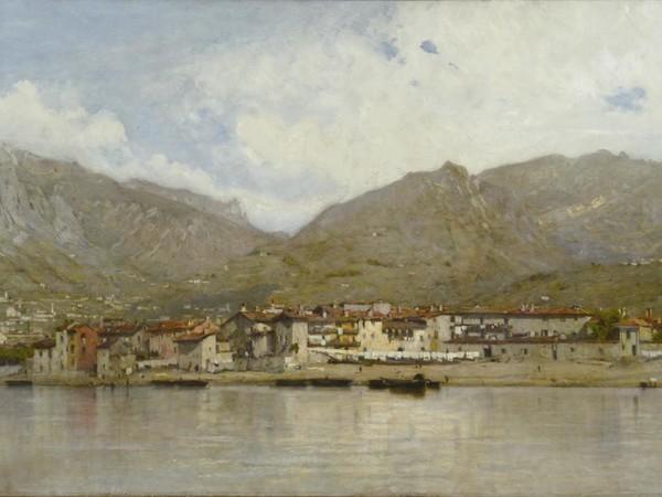 Filippo Carcano, Allegria, Pescarenico nel lago di Lecco, olio su tela, cm. 100x200