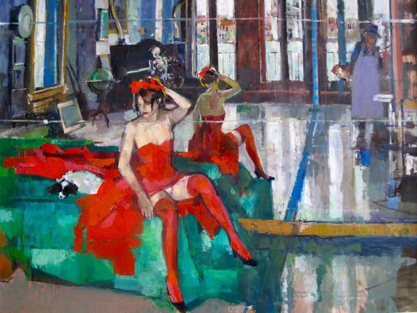 Geoffrey Humphries,The Christmas Dress, Olio su tela (Particolare), 120 x 100 cm | Courtesy of the Artist and The Osborne Studio Gallery, London