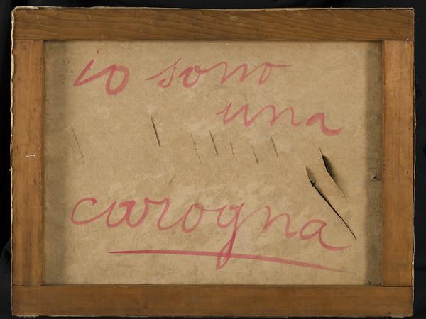 Lucio Fontana Io sono un santo, 1958. Ink on paper on canvas with cuts, 50 x 65 cm.