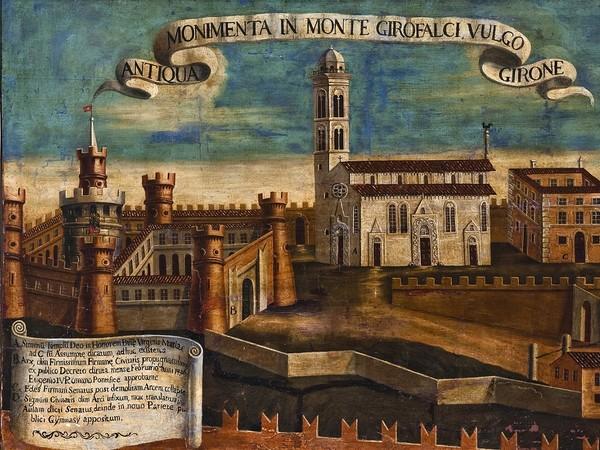 Anonimo pittore fermano del XVIII secolo, Veduta dei monumenti del Girfalco di Fermo, Fine XVIII secolo, Olio su tela, Fermo, PinacotecaCivica