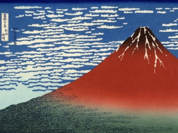 Katsushika Hokusai, <em>Fuji Rosso (Giornata limpida col vento del sud)</em>, Dalla serie Trentasei vedute del monte Fuji, 1830-1832 circa, Silografia policroma, 25.5 x 36.8 cm, Honolulu Museum of Art | Courtesy of Palazzo Reale, Milano 2016