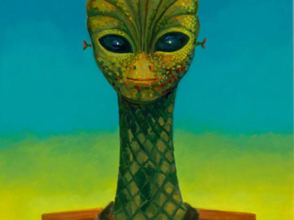 Robert Llimos, Alienigena1, blau, verd, groc, 2015, oil on canvas