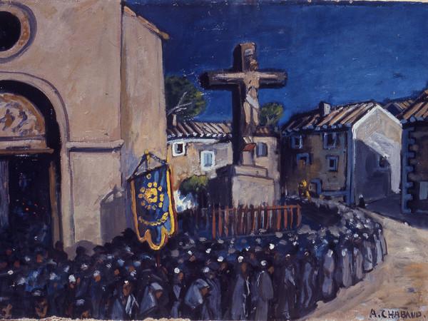 Auguste Chabaud, La procession. L'Enterrement sort de l'Eglise, 1920 ca., olio su cartone