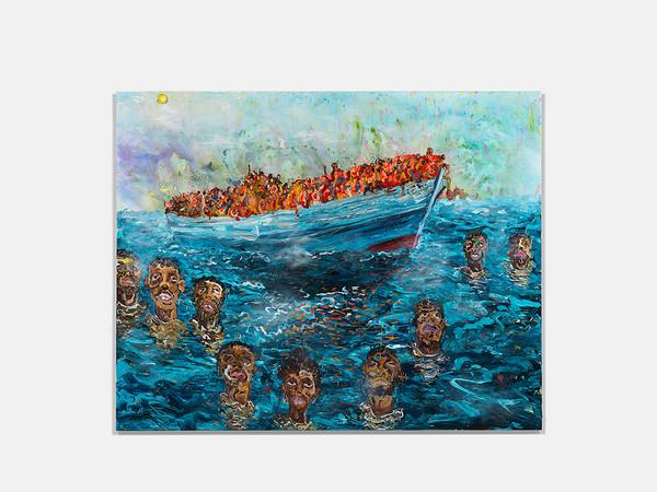 Ludovic Nkoth, Lighthouse, 2020, acrylic on Belgium linen, 198.1x248.9 cm.