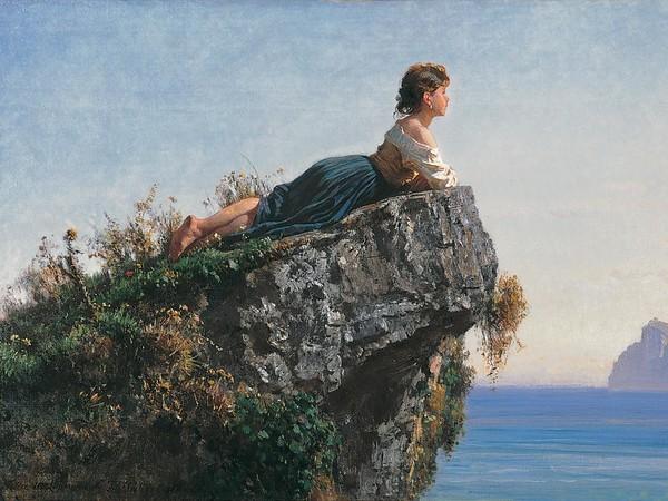Filippo Palizzi, Fanciulla sulla roccia a Sorrento, 1871. Olio su tela, cm 54,8x79,5. Fondazione Internazionale Balzan