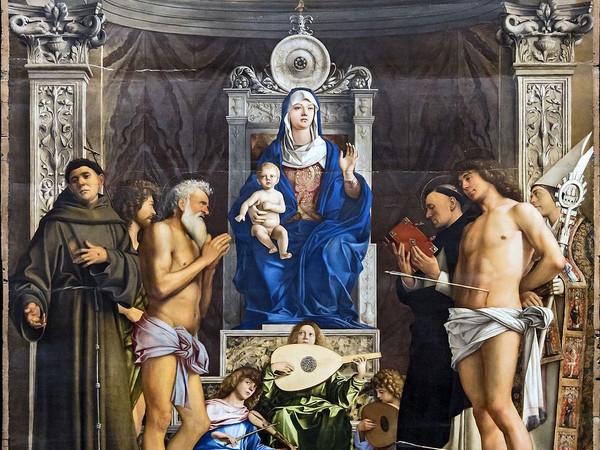 Giovanni Bellini, Pala di San Giobbe, 1487 ca., olio su pannello, 471×259 cm. Gallerie dell'Accademia, Venezia (part.)