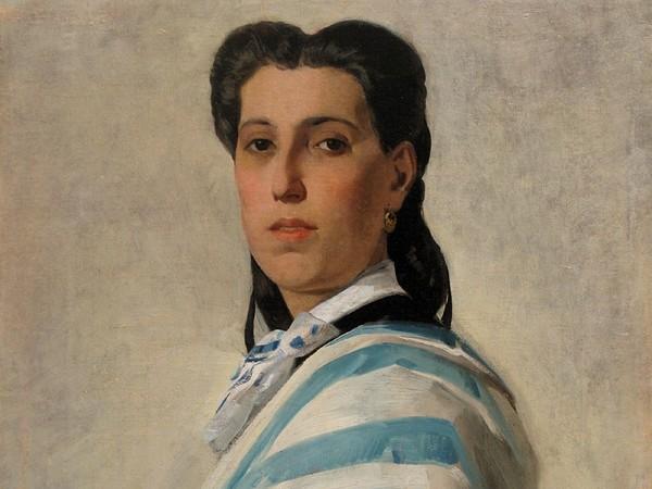 Luigi Busi, Ritratto femminile con drappo bianco-azzurro, Collezione privata