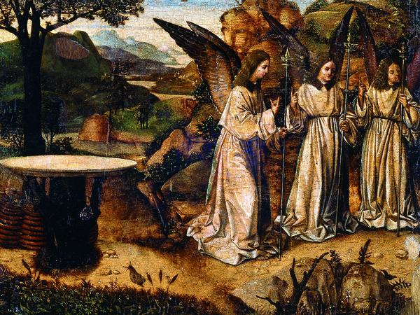 Antonello da Messina, <em>Abramo e gli angeli</em>, Tempera e olio su tavola, 29.3 x 21.2 cm, Reggio Calabria, Pinacoteca Civica