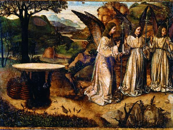 Antonello da Messina, Abramo e gli angeli, Tempera e olio su tavola, cm. 21,2x29,3. Reggio Calabria, Pinacoteca Civica