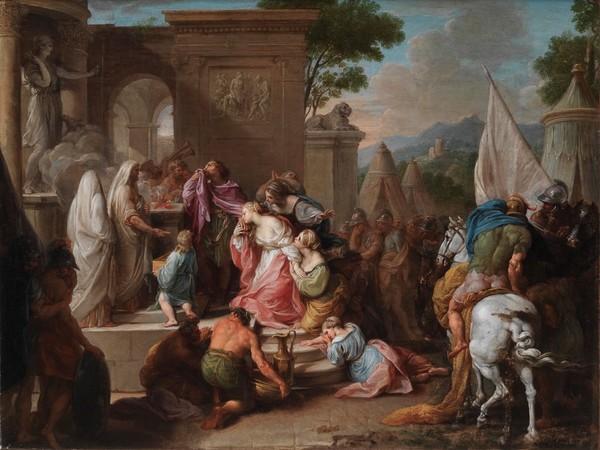 Pompeo Girolamo Batoni, <em>Sacrificio di Ifigenia</em>, olio su tela, con cornice, cm. 43,3×57,5. Collezione privata