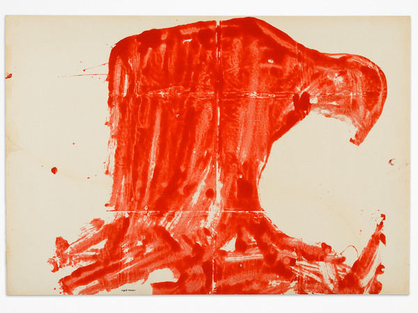 Franco Angeli, Testa d'aquila, 1964, smalto su carta, 70x100 cm.