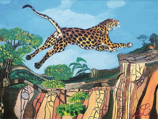 Antonio Ligabue, Leopardo su roccia, olio su tela, 70x100 cm. Centro Studi & Archivio Antonio Ligabue di Parma