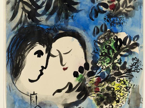 Marc Chagall, Gli amanti, 1954-1955. Gouache, inchiostro di china e acquerello su carta, cm 53x47. Dono di Jan Mitchell, New York, tramite l'America - Israel Cultural Foundation © Chagall ® by SIAE 2015
