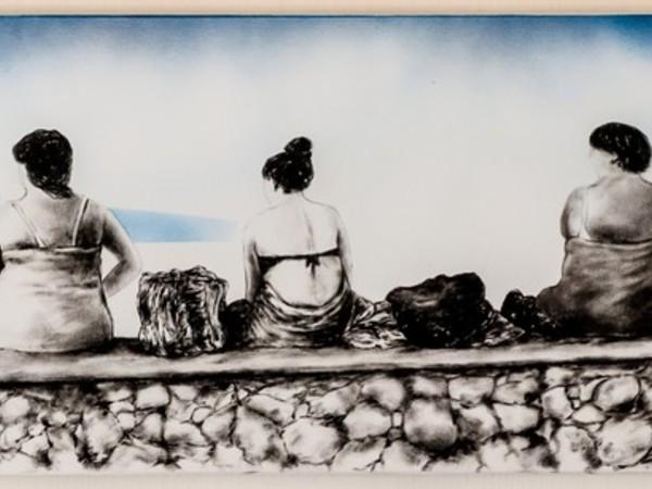 Tommaso Chiappa, Seduti, acrilico su tela, 30x100 cm., 2017 (part.)