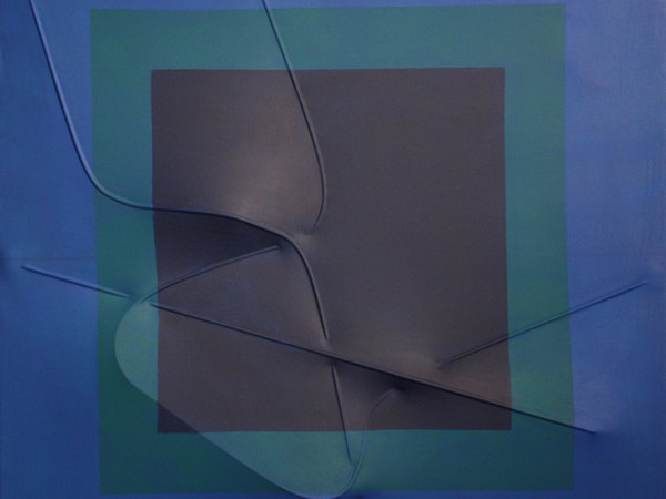 Agostino Bonalumi, Blu, 2000, tela estroflessa e tempera, cm. 100X100