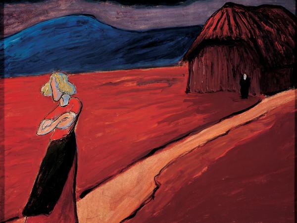 Marianne Werefkin, Atmosfera tragica, 1910. Tempera su carta incollata su cartone, 46,8 × 58,2 cm. Ascona, Fondo Marianne Werefkin, Museo Comunale d'Arte Moderna