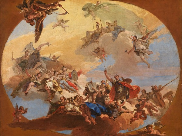 Giambattista Tiepolo, <em>Trionfo delle arti e delle scienze</em>, 1731 circa, Olio su tela, 55.5 x 72 cm, Lisbona, Museu Nacional de Arte Antiga | © MNAA/DGPC/ADF, Luísa Oliveira<br />