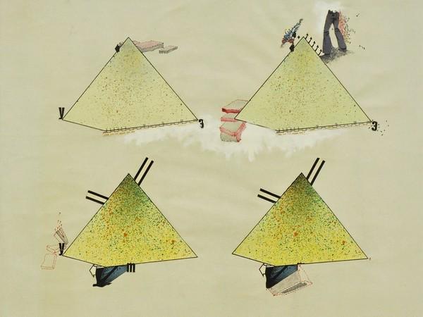 Gianni Emilio Simonetti, One inch equal for feet...., 1967, tecnica mista e collage su tela, cm. 72x91