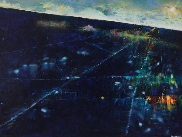 Renzo Vespignani, Atterraggio, 1997, olio su tela, cm. 70x100. Collezione Galleria Edarcom Europa