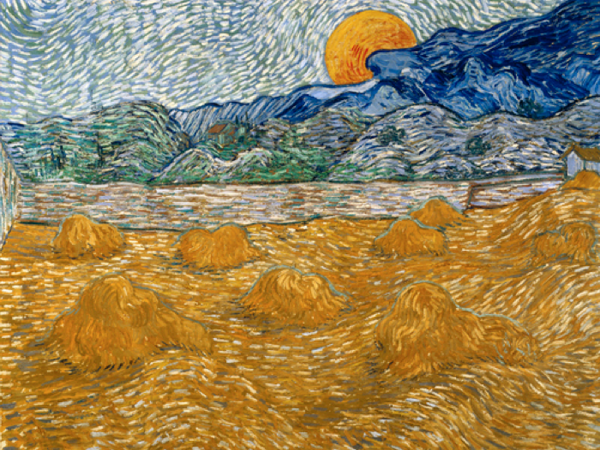 Vincent van Gogh, Paesaggio con covoni di grano e luna che sorge, 1889. Olio su tela, 72 x 91,3 cm.