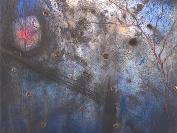 Sandro Bracchitta, Tutto Scivola, 2017. Pigmenti, acrilici e pastello su carta applicata su tela. cm. 100x99