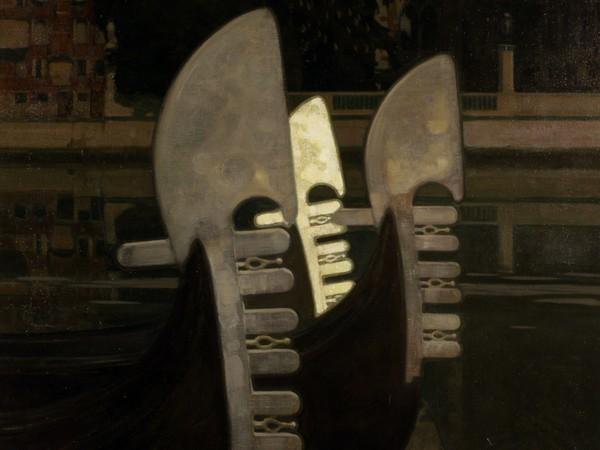 Guido Marussig, Paesaggio lagunare con gondole, 1918, Olio su tela, 120.5 x 120.5 cm, Fondazione Musei Civici Venezia Ca' Pesaro - Galleria Internazionale d'Arte Moderna