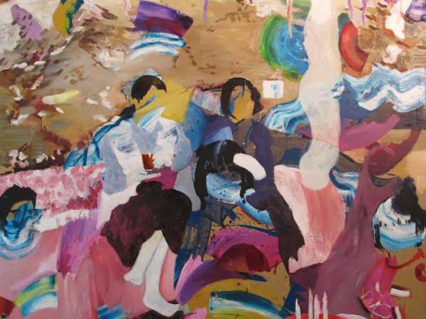 <span>Zanbagh Lotfi, Memory Vague, 2015, tecnica mista e olio su tela, 150x135cm</span>