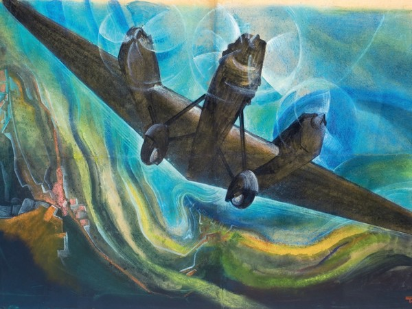 Tato Osvaldo Sansoni, Me ne frego vado in su, 1933, tempera su carta kraft, 50x74