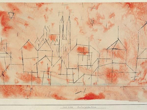 Paul Klee, Stadt mit gotischen Münster, 1925. Disegno a ricalco a olio e acquerello su carta, tagliata e rimontata su cartoncino. Musei Vaticani, Collezione d'Arte Contemporanea, inv. 23252