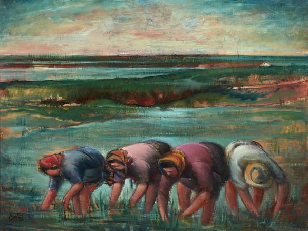 Betto Lotti, Le mondine, 1952, olio su tela, cm 54x69
