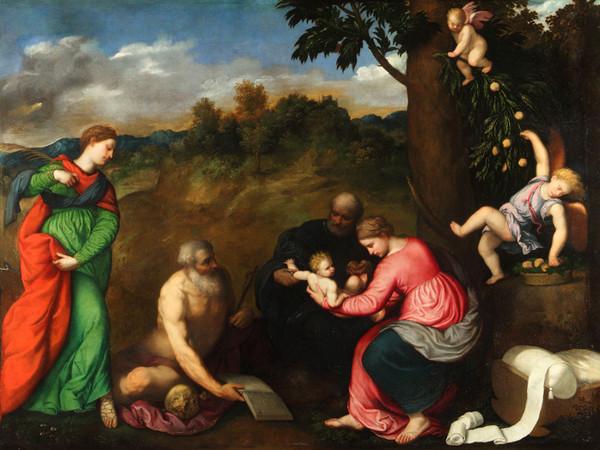 Paris Bordon, <em>Sacra famiglia con i Santi Gerolamo, Caterina d' Alessandria e angeli</em>, 1535, olio su tela, 275 x 193 cm, Genova, Musei di Strada Nuova, Palazzo Rosso