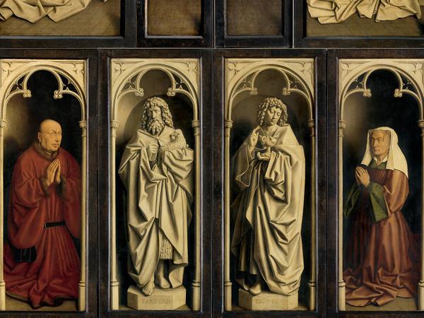 Jan e Hubert van Eyck, Pala d'altare di Gand (Adorazione dell'Agnello Mistico), 1432, Dettaglio del Polittico chiuso, Prima del restauro, Olio su tavola, Gand, Cattedrale di San Bavone   Courtesy of Saint-Bavo's Cathedral Ghent © Lukasweb.be-Art in Flanders vzw   Photo: KIK-IRPA