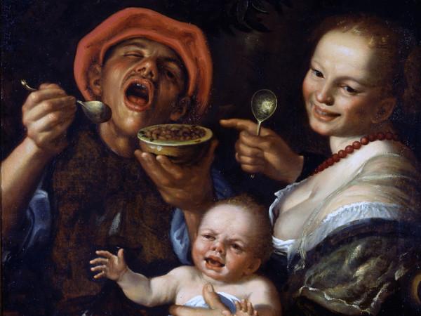 Vincenzo Campi, Mangiatore di fagioli con la famiglia, olio su tela, 82 x 66 cm. Collezione privata
