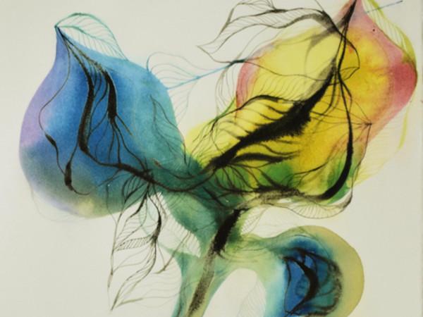 Eldi Veizaj, Fiori per Alda, acquerello e china su carta, cm. 77x56
