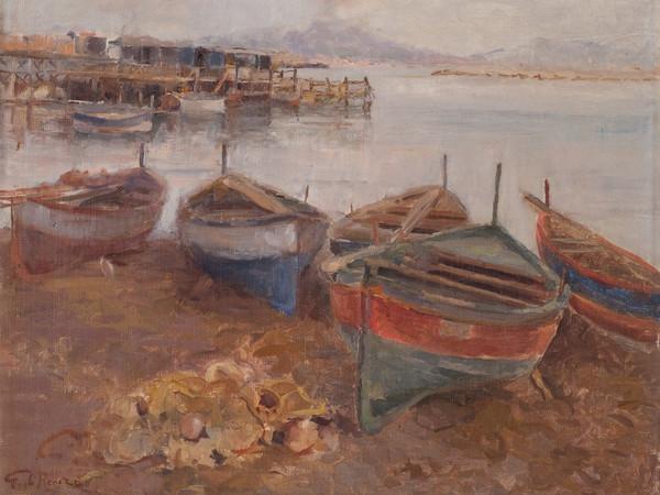 Guido Di Renzo, Barche al porto con Vesuvio, olio su tela, cm. 38x47