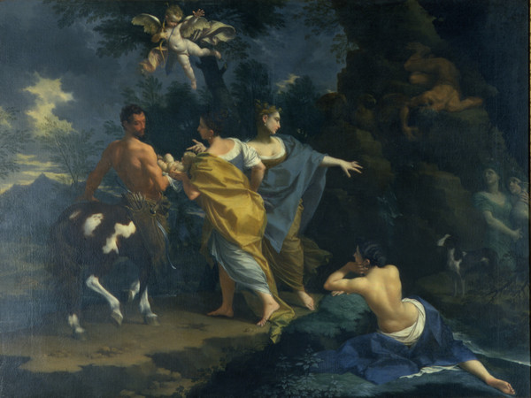 Donato Creti (Cremona, 1671 - Bologna, 1749), Il piccolo Achille viene affidato al centauro Chirone, 1714 circa, Olio su tela, 164 x 124 cm