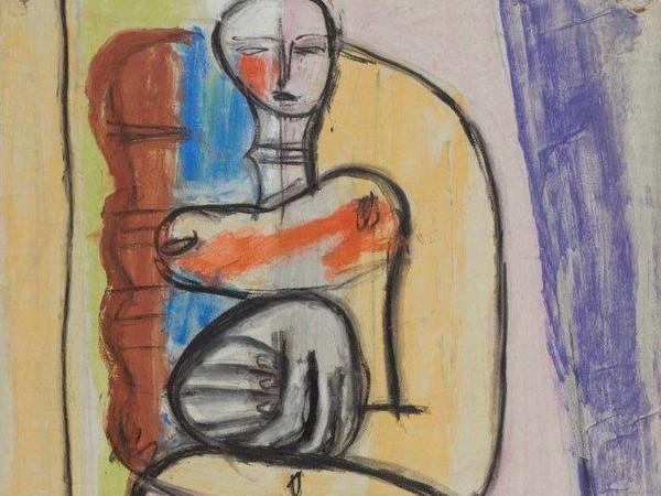 Le Corbusier, Studio per Donna rossa e gomitolo verde, pastello acquerellato su carta, 1932-1935 ca.