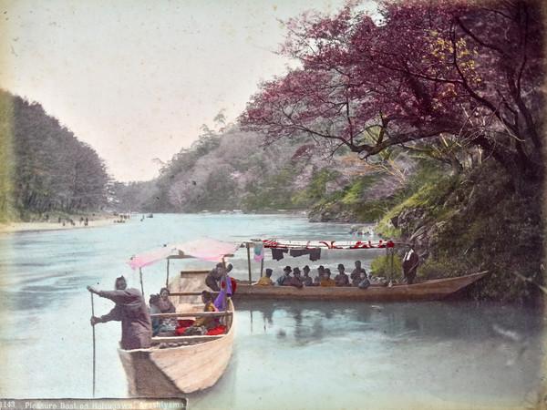 Paesaggio, fotografia all'albumina, periodo Meiji (1868-1912)