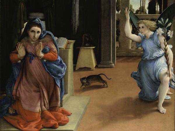 Lorenzo Lotto, <em>Annunciazione</em>, 1534-1535, olio su tela, 114 x 166 cm, Recanati, museo civico Villa Colloredo Mels
