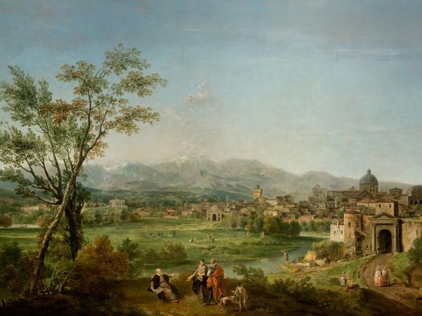 Francesco Zuccarelli, Veduta ideale di Vicenza con celebrazione allegorica di Andrea Palladio, 1760-1770, Olio su tela, 239.5 x 151.5 cm | Courtesy of Intesa Sanpaolo