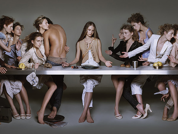 Brigitte Niedermair, Campaign M+F Girbaud 2004 The last supper, 58x30,12 cm. without frame