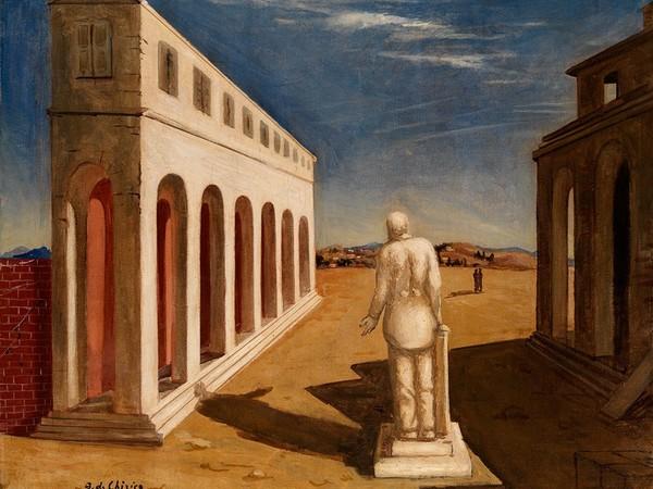 Giorgio de Chirico, Piazza d'Italia (Souvenir d'Italie), (1924-1925), olio su tela, 60x73 cm. Mart, Museo di arte moderna e contemporanea di Trento e Rovereto, Collezione L.F.