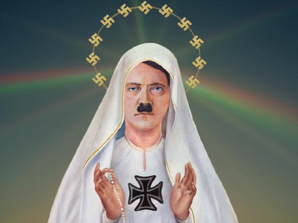 Max Fontana, Heil Mary, Tecnica mista con volto di politico austriaco su mezzobusto di icona religiosa di sesso femminile