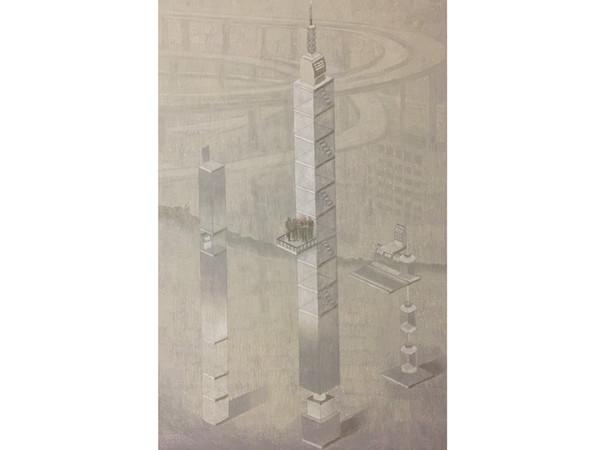 """Giuseppe Sylos Labini """"La città che sale"""" (2019), pastelli ad olio su tela 194 x 120."""