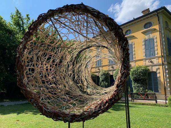 Antonella De Nisco, Monocolo, 2021, tondino in acciaio e materiali naturali, cm. 300x250x100